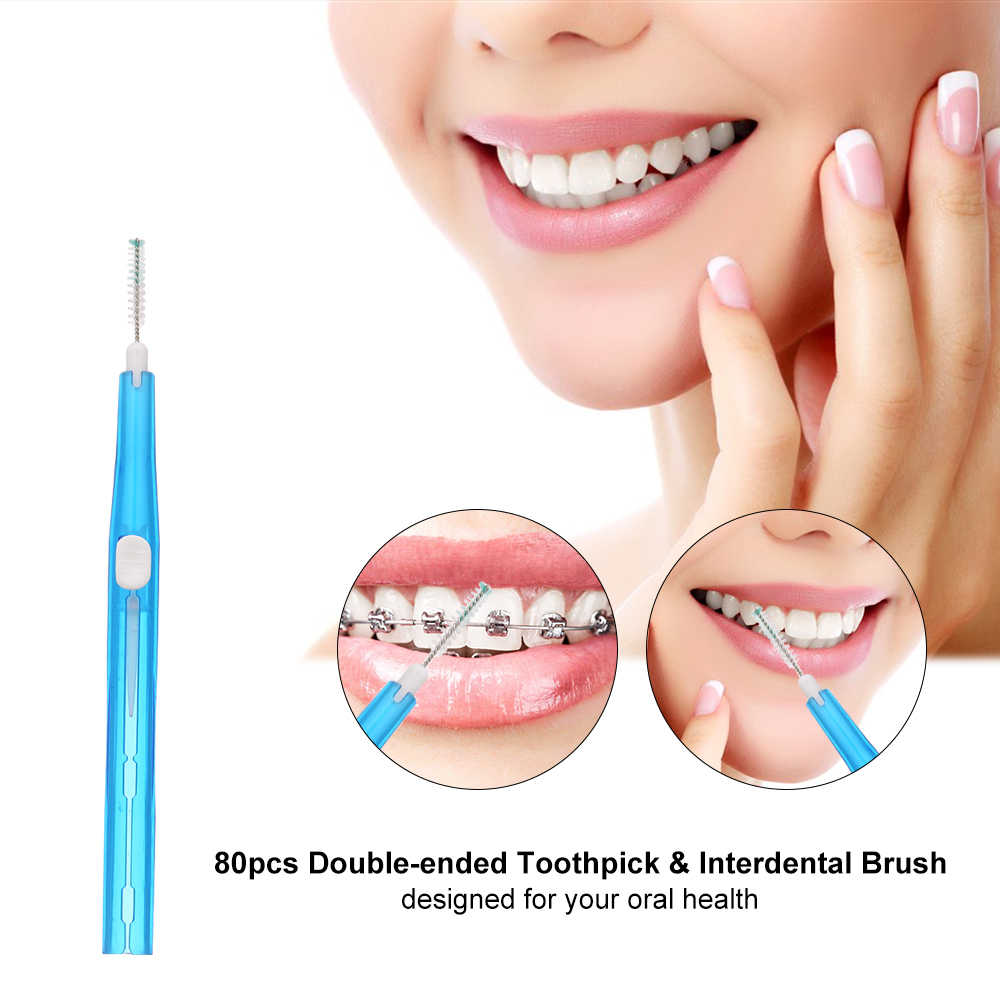 80 sztuk podwójnie zakończone wykałaczka plastikowe zębów nić dentystyczna międzyzębowe szczoteczki do zębów Stick higieny jamy ustnej narzędzia szczoteczka do zębów