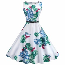 Audrey Hepburn Vintage O Neck Sleeveless Belt Floral Swing Dress Women Summer Rockabilly Casual Party 50s 60s Dresses C7602