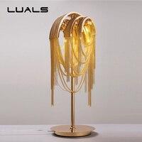 Nordic Гостиная роскошный настольная лампа творческий металлической цепью светодиодный свет бюро вилла клуба Mesa Таблица свет Книги по искусс