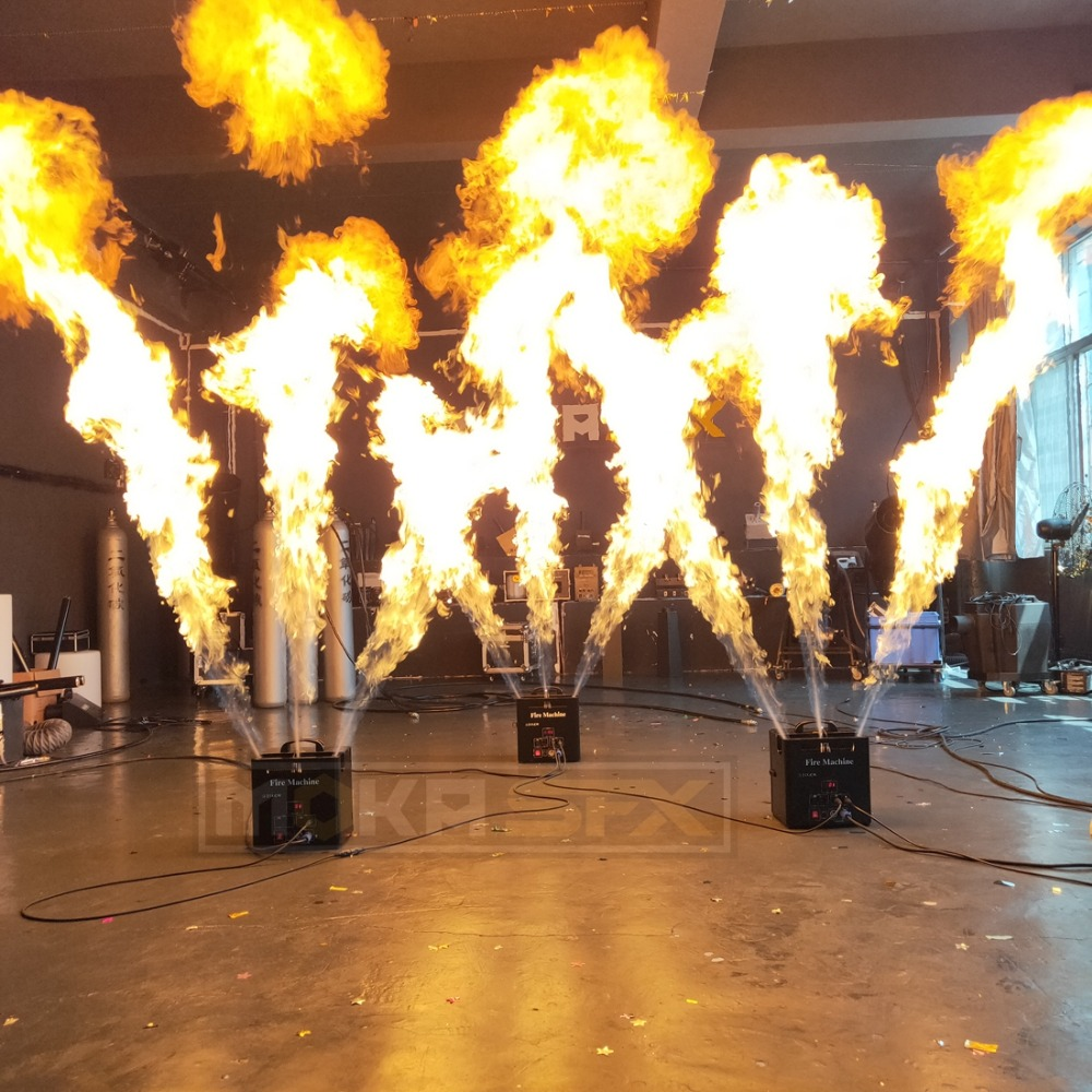 3 Heads Fire Machine Triple Flame Projector With Safe Channels DMX Control For Celebration DJ Wedding Party Stage Disco Effects
