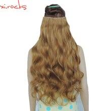 2 Piece Xi.Rocks 5 Clip in Hair Extension 70cm Synthetic Clips Extensions 120g Curly Hairpin Hairpiece Apricot Color 27J