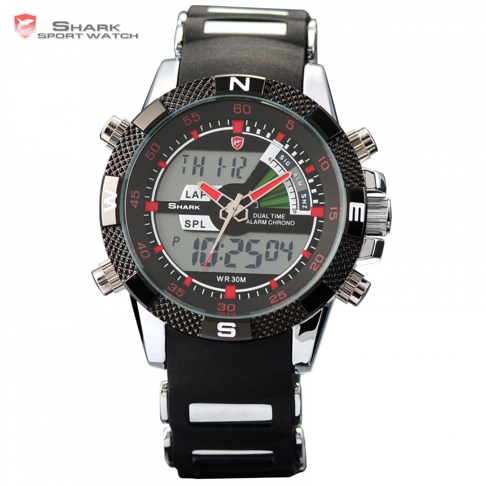 New Luxury SHARK Sport Watch Brand Analog Dual Time Date Alarm Steel Rubber Strap Relogio Clock Quartz Men Military Hours/ SH043