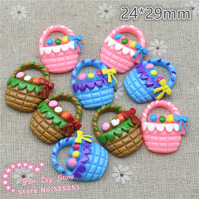 Easter Day Cute Mix Color Egg Basket 10pcs/lot 24*29mm Flat Back Decoration Free Shipping R807