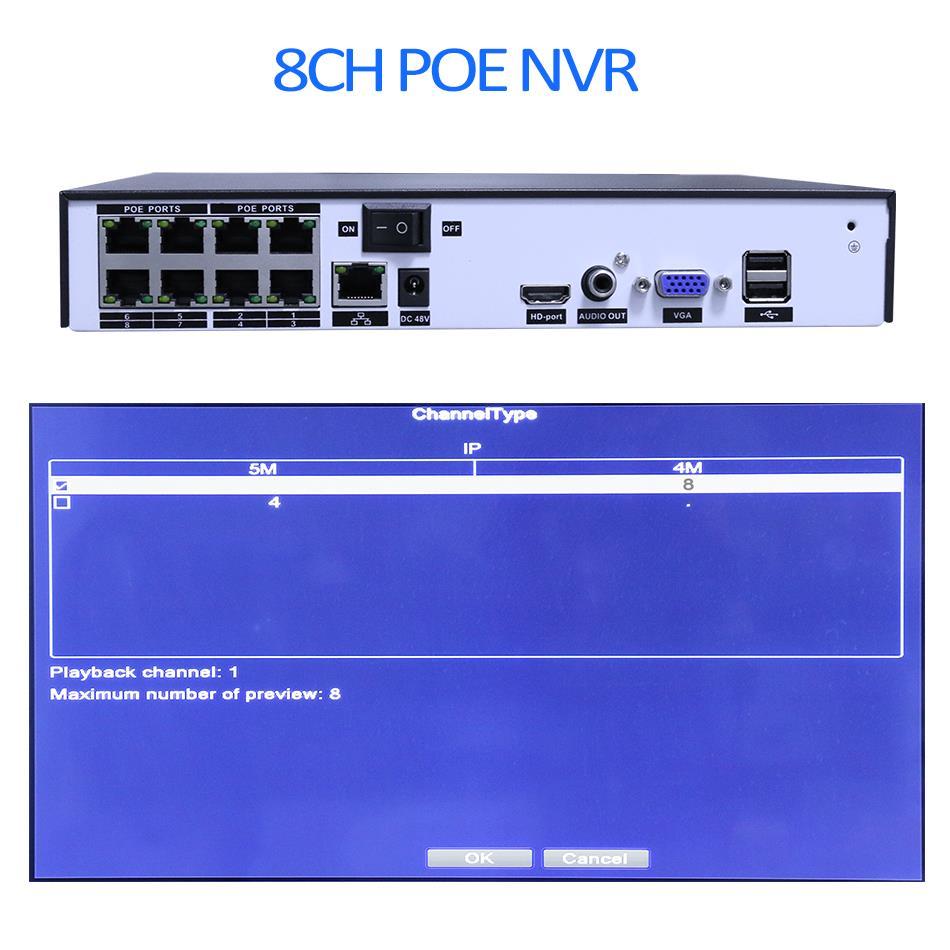 Hiseeu H.265 H.264 4/8CH POE NVR Security IP Camera video Surveillance CCTV System P2P ONVIF 2MP/5MP Network Video Recorder - 5