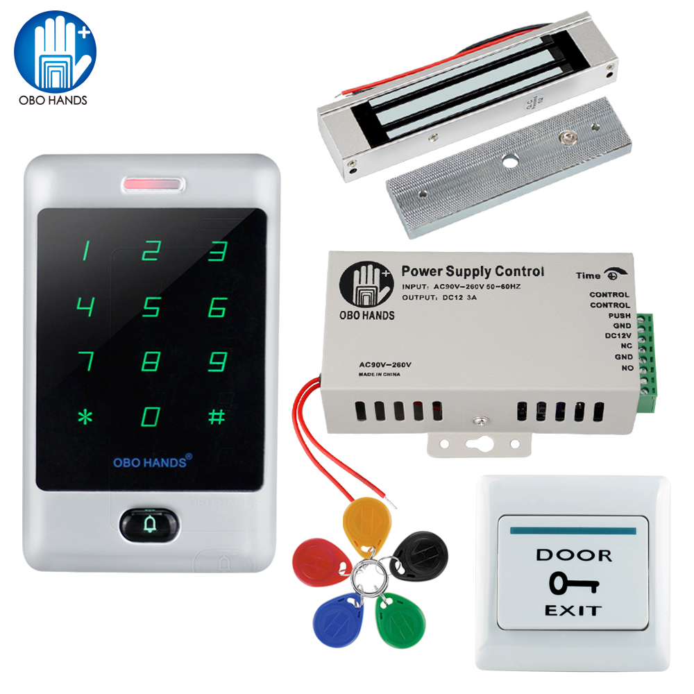 C30 Full Access Control System Kit Access Controller with Electric Lock+DC12V3A Power Supply+Door Exit Button+5pcs RFID Key Tag