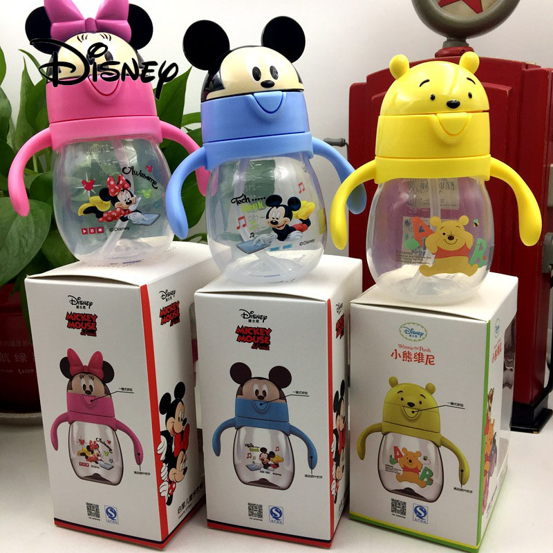 Disney 270ML Mickey Mouse Baby Feeding Cup Child Safety Straw Drinking Bottle Baby Mickey Minnie Portable Cup Birthday Gifts