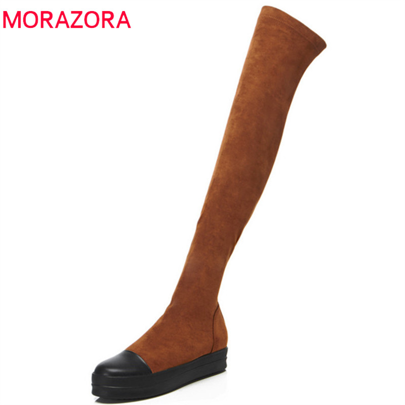 MORAZORA 2018 hot sale over the knee boots women genuine leather autumn winter boots thick bottom fashion Stretch socks boots купить недорого в Москве
