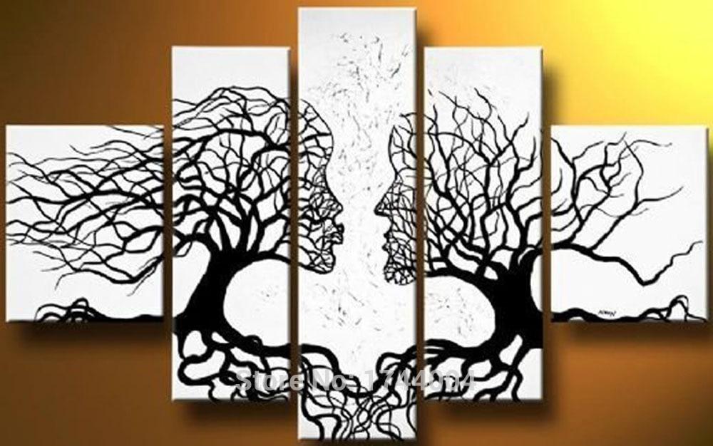 Arbre peinture à l'huile 5 pièces sur toile de haute qualité blanc noir tête Portrait moderne mur photo pour salon abstrait décor à la maison