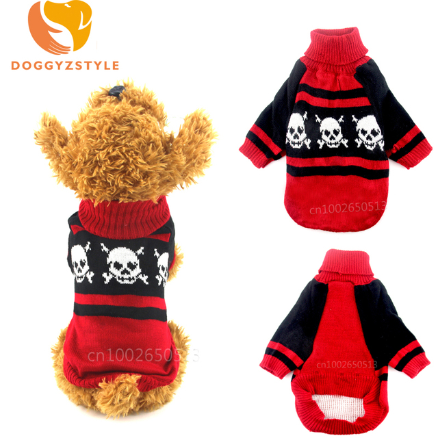 Halloween Skull Pattern Pet Dog Sweater Christmas knitting Outfit ...