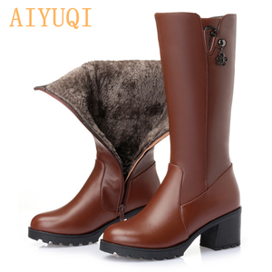 Image 1 - 2020 genuine leather women boots high winter boots pius size 41 42 Russian Federation locomotive boots women