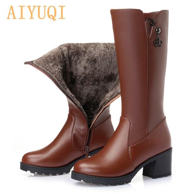 2020 جلد طبيعي النساء أحذية عالية الشتاء الأحذية pius حجم 41 42 الاتحاد الروسي قاطرة أحذية النساء