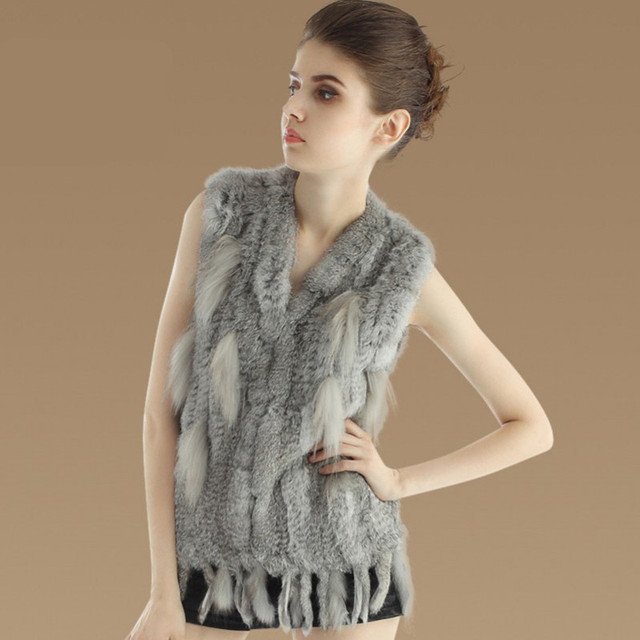 2016 New Europe and America popular women real fur vest Raccoon Fur vest fashion rabbit fur tassel colete feminino DX254