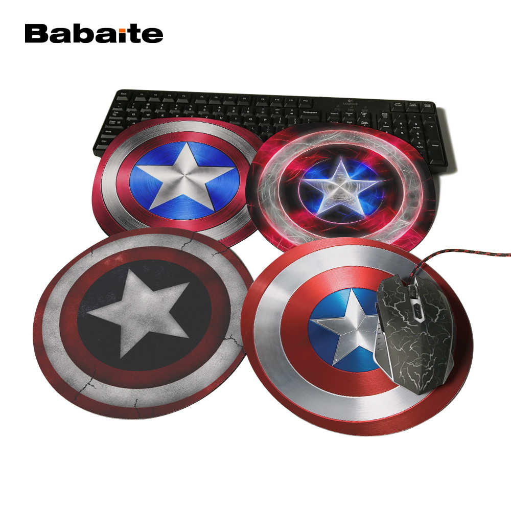 Babaite Personality Captain America Design Painting Round Mouse Pad Super Hero Series Computer Laptop Gaming Optical Mousemat