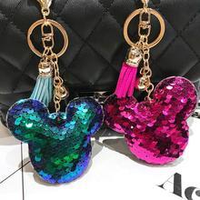 2pcs/lot Animal Mickey Keychain llaveros Leather Key chain Chaveiros Key Ring Men Women Bag Car Jewelry Gift цены онлайн
