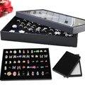 Fashion Retail 100 Slots Black Velvet Ring Storage Ear Pin Display Box Jewelry Organizer Holder Show Case Tray 29x19x3.8cm