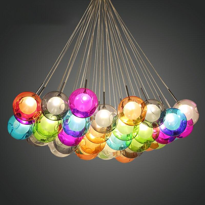 Modern LED Colorful Glass Ball Pendant Lights Lamps Creative Design For Dining Room Living Room Bar Led G4 96-265V Glass Lights
