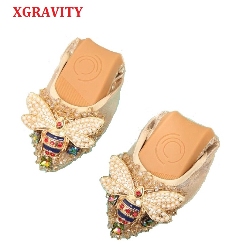 XGRAVITY Plus Size Designer Crystal Woman Flat Shoes Elegant Comfortable Lady Fashion Rhinestone Women Soft Bees Shoes A031 1-in Women's Flats from Shoes