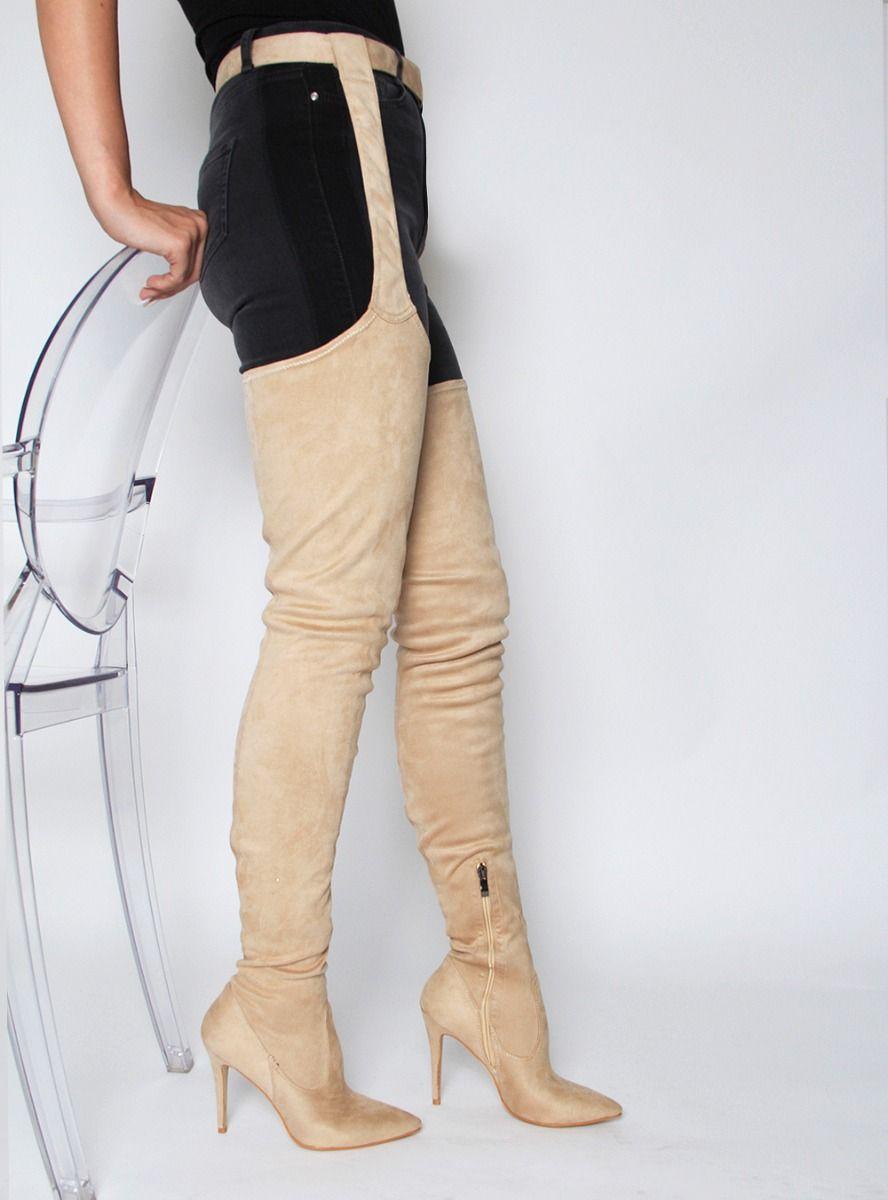 Bota feminina luxe femmes talons hauts noir surgenou cuisse taille haute bottes bas en cuir bout pointu Chaussure Femme