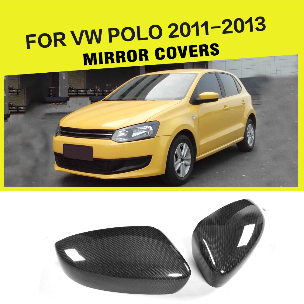 Carbon fiber Black full replacement Side Rearview Mirror Covers Caps for Volkswagen VW POLO 2011-2013 Car Styling