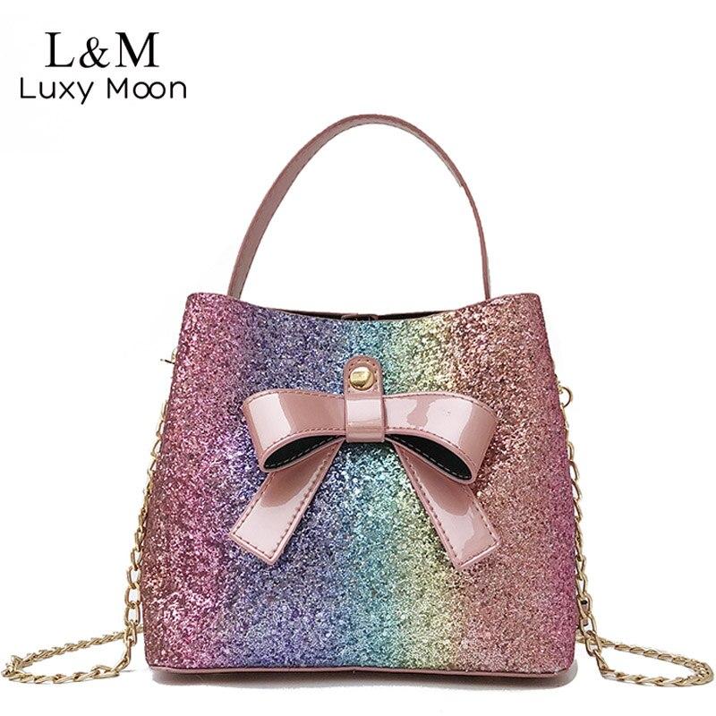 Glitter Bucket Handbag Women Patent PU Leather Crossbody Bag Teen Girls  Cute Mini Chain Shoulder ... ad9c967469