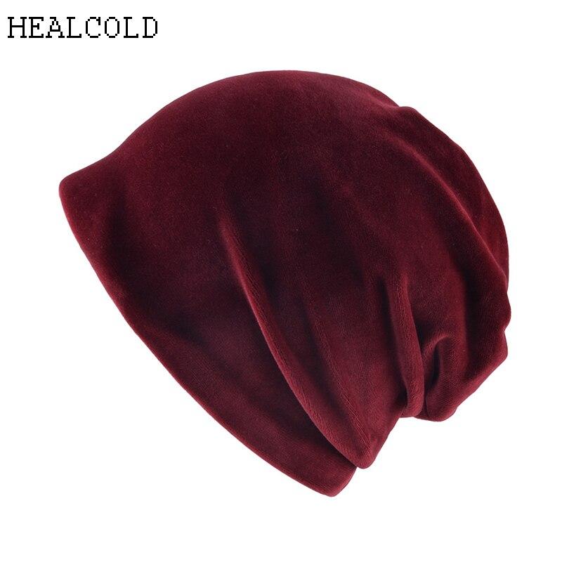 2019 New Autumn Winter Women Hats Fashion Warm Knitted Fleece inside Slouchy Beanie Hat Velvet Skullies Caps