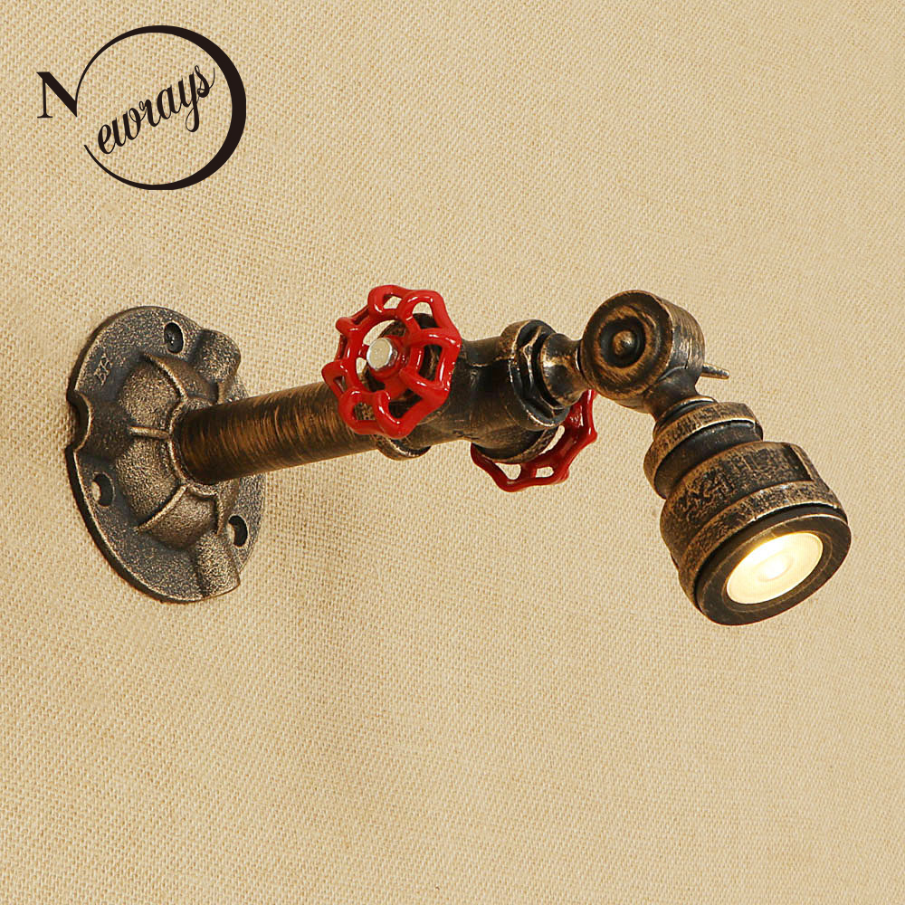 Nordic loft iron rust Water pipe retro adjustable wall lamp LED sconce lights luminaire for living room bedroom restaurant bar nordic living room wrought iron retro cafe bedroom restaurant bar industria wind creative personality water pipe wall lamp lo891