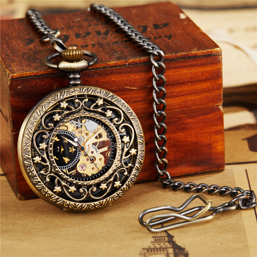 Retro Hollow Mechanical Pocket Watch With FOB Chain Gold Skeleton Steampunk Vintage Mens Womens Hand Winding Pocket Watch