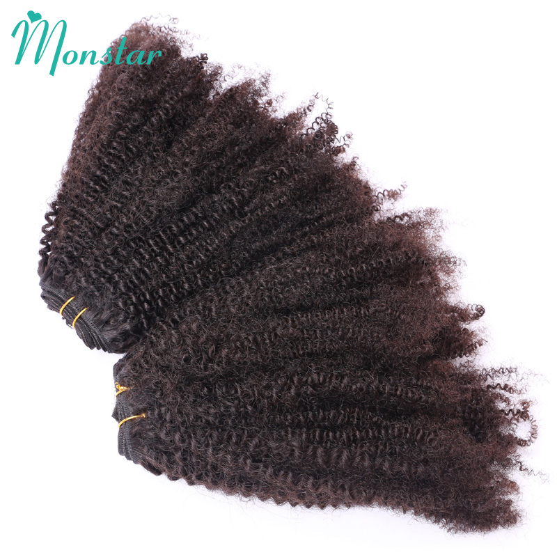 Monstar Peruvian Kinky Curly Hair Extensions 2 Bundles Deal 100% Human Hair Weave Natural Black Afro Curly Virgin Hair Weft