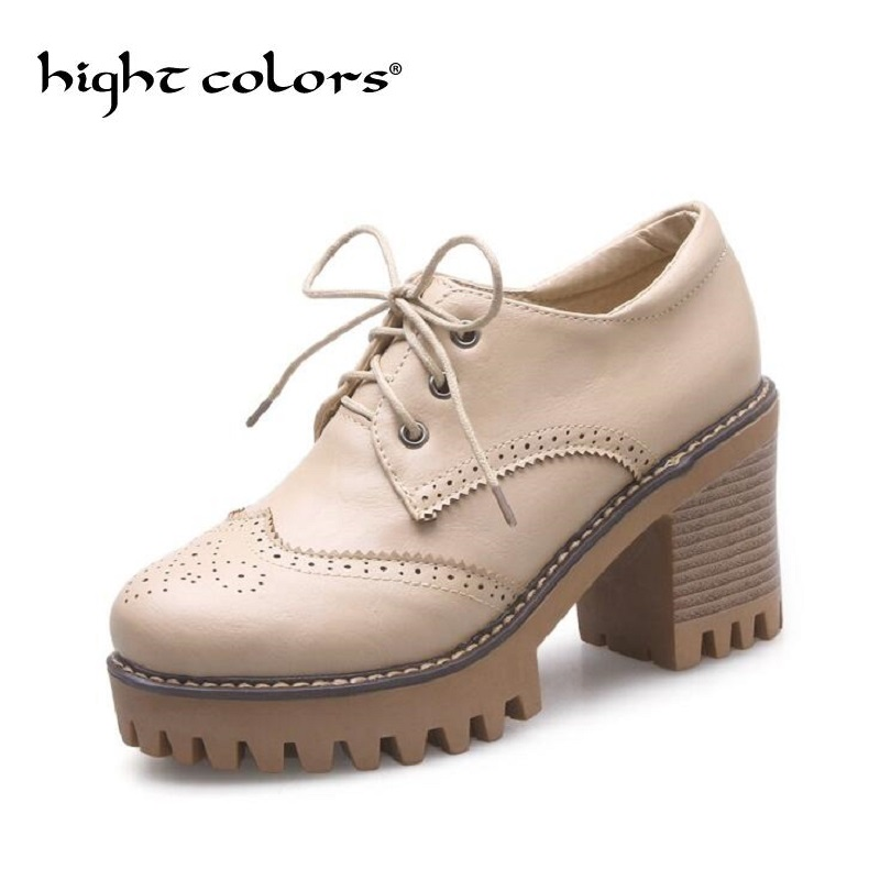 NEW Spring Platform Bullock Student Shoes Woman Thick Heels Oxford Shoes For Women Creepers Casual Shoes High Heel Pumps NEW Spring Platform Bullock Student Shoes Woman Thick Heels Oxford Shoes For Women Creepers Casual Shoes High Heel Pumps