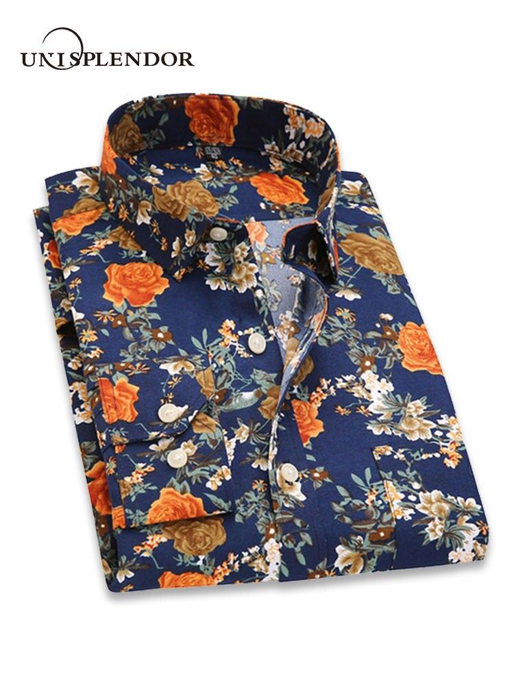 2018 Retro Floral Gedruckt Männer Casual Shirts Klassische Männer Kleid Shirt herren Langarm Marke Neue Mode Frühjahr Shirts YN10015