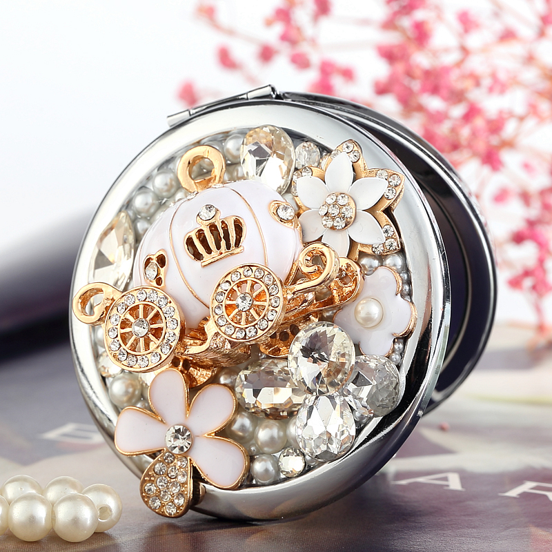 Gratis Graveren, bling Crystal Mini Beauty make-up compacte pocket spiegel make-up, pompoen auto bloem, Christmas party bruidsmeisje geschenken