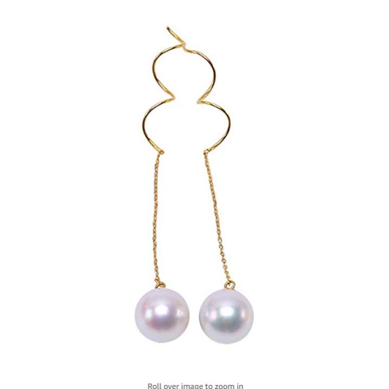 18K Gold Luxurious Akoya Earrings for women 8.5mm White Japanese Akoya Sea Pearl Earrings украшение на шею mikimoto 8 8 5mm akoya 18k