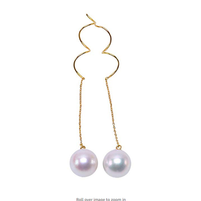 Boucles d'oreilles Akoya luxueuses en or 18 K pour femmes 8.5mm boucles d'oreilles japonaises blanches en perles de mer Akoya