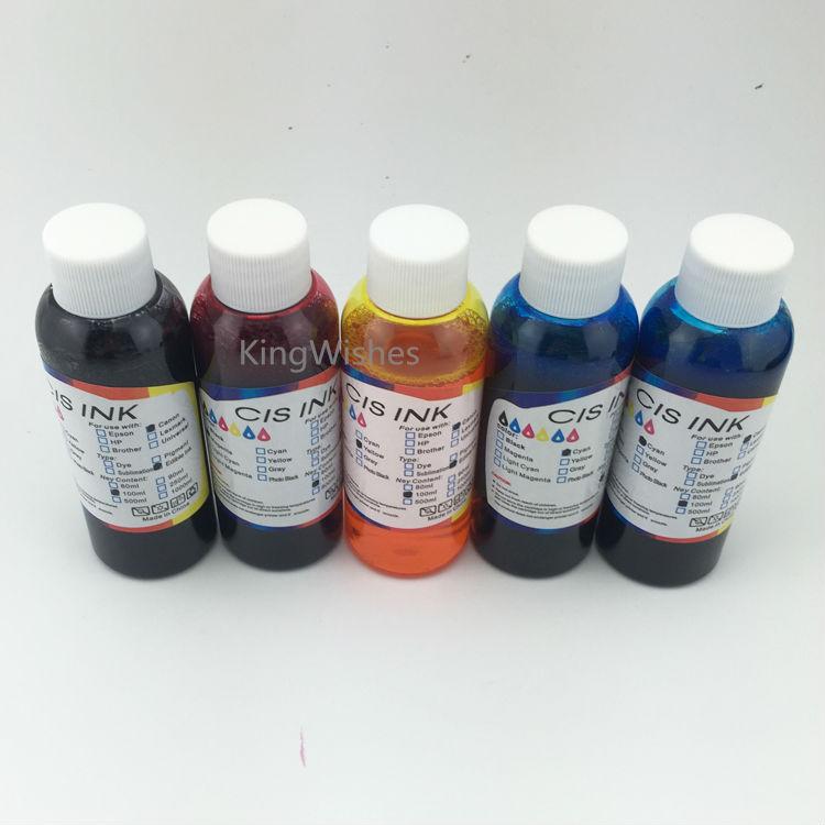 ФОТО Top Quality 5PCS x 100ML PGI-5 CLI-8 Edible Ink For Canon IP3300 IP4200 IP4300 IP4500 IP5300 IX4000 IX5000 MP970 Printer