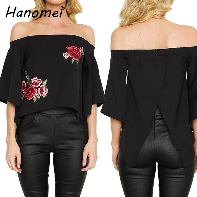 Nova Rosa Bordado Camisa das Mulheres Aberto Para Trás Topos Mulheres Blusas 2017 Mujer Camisas Fora Do Ombro Barra Pescoço Blusas Femininas C08