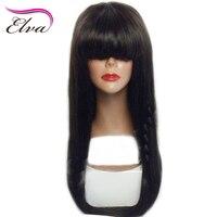 Elva Cheveux Avant de Lacet Perruques de Cheveux Humains Pré Pincées Dégarni Droite Perruque Avec Une Frange de Cheveux humains Avant de Lacet Perruques Brésilien Remy Cheveux