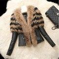 Mulheres da moda Senhora de Couro Falso Inverno Casaco de Pele de Luxo Casaco Quente Outwear Parka