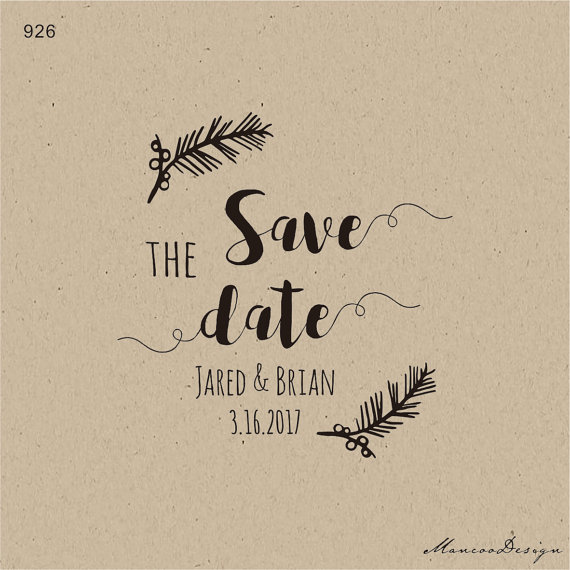 Pine Branch Save The Date Stamp Wedding Favor Custom Rubber Thank You Winter Christmas 15x15