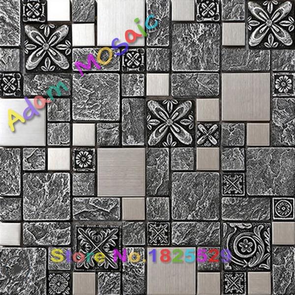 Negro de cerámica del azulejo del mosaico backsplash de la cocina ...