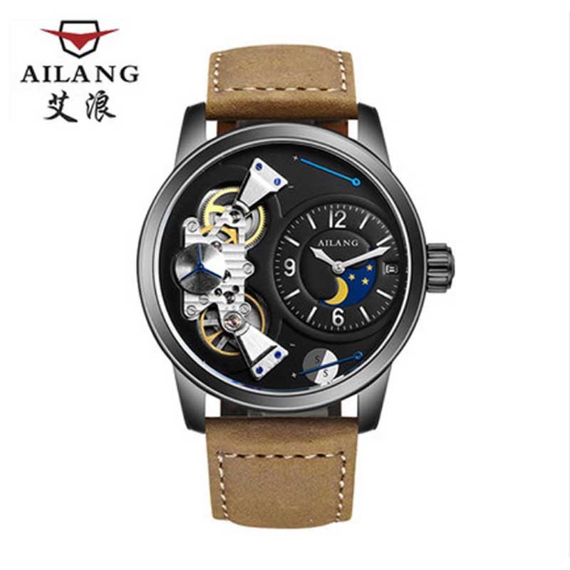 Здесь продается  47mm large dial new luxury watch sun and moon stars Tourbillon mechanical watch waterproof stainless steel fashion men