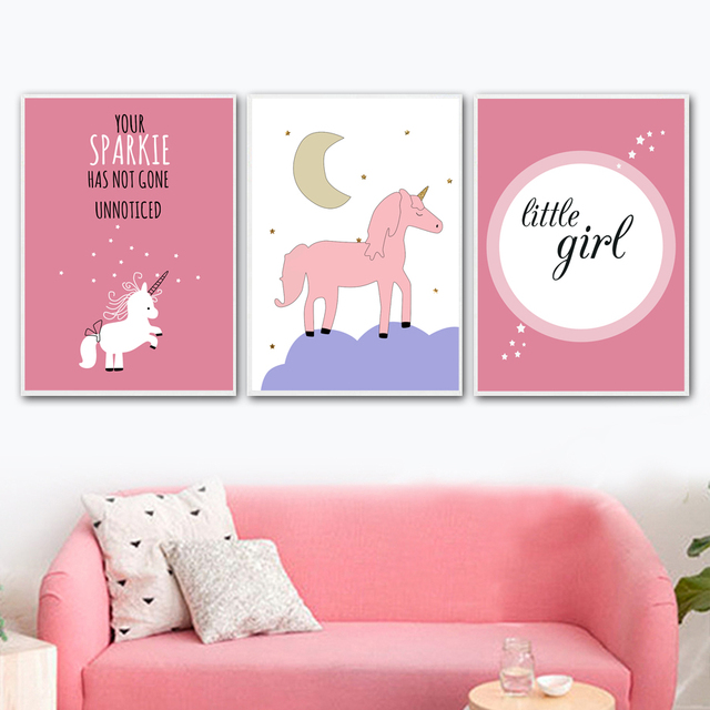 unicorn moon quotes wall art posters and prints canvas painting pop