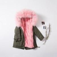 Jacket Winter Children Real Fur Jackets For Girls Big Fur Collar Removable Liner Coats Kids Raccoon Fur Collar Hooded Outerwears