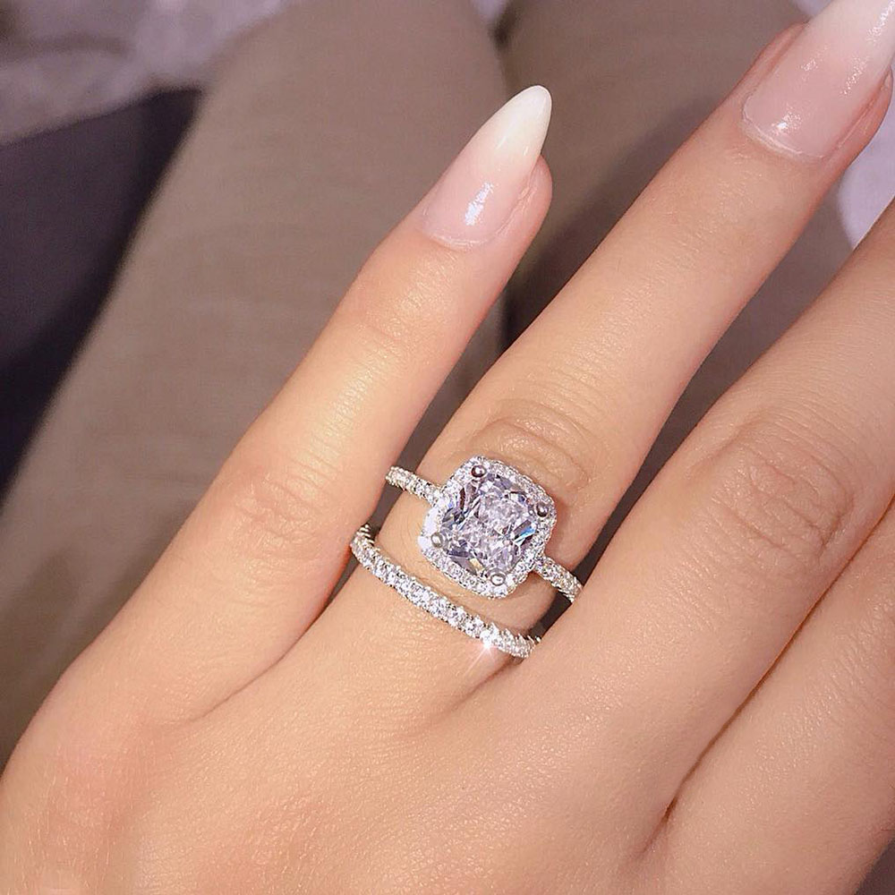 FAMSHIN Fashion Engagemen Zircon Crystal Rings Womens Girls Silver Filled Wedding Ring Set Lover Wedding Jewelry Party Gift 2018 femme en soutien gorge rouge