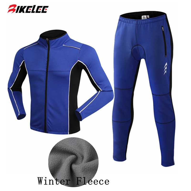BIKELEE Hot Winter Fleece Cycling Jersey Long Sleeve Sets Men Warm Outdoor Sport Cycling Clothing GEL