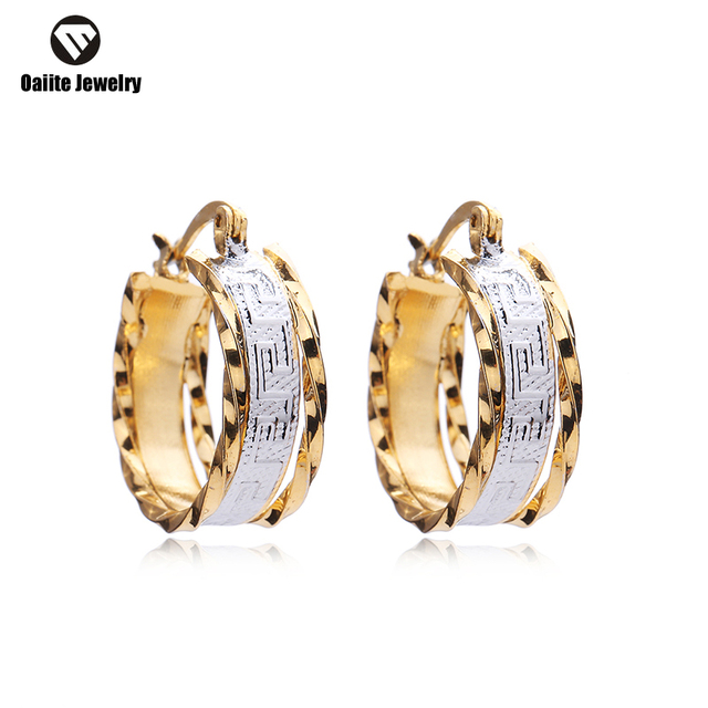 OAIITE Trendy New Females Hoop Earrings for Womens Gold plated Filled Silver Wedding Jewelry Accessories Gift  EW7414