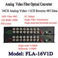 16CH conversor Óptico De Vídeo digital video transmissor ótico e receptor de fibra óptica multiplexer 1CH + 485 de Dados