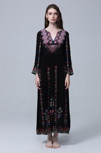 Vintage Col Robes Manches Broderie V De Noir longueur Cheville Ethnique Lâche Longues Style Des Robe Plein Femme Vêtements Femmes PwxqXwdv