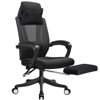 Leisure Mesh Cloth Computer Chair Lifted Rotated Multi function Office Chair Household Reclining Computer Chair with Footrest