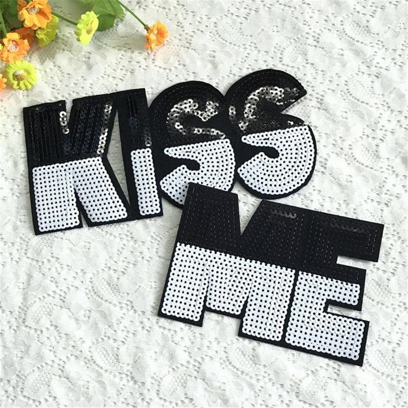 T shirt Women letters patch sequins 20cm kiss me deal with it iron on patches for clothing 3d t shirt mens free shipping