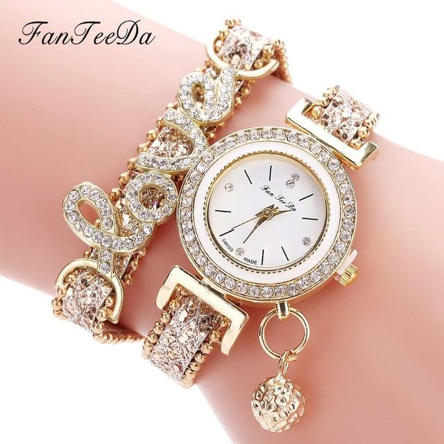 FanTeeDa Women's Fashion Love Word Leather Strap Bracelet Ladies Quartz Watches